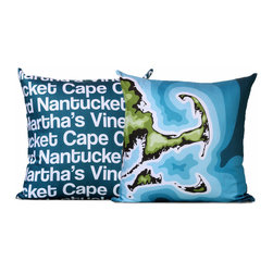 "Cape Cod Map Pillow - This pillow features a topographical map of Cape Cod, Nantucket, and Martha's Vinyard on the front and the beaches names text on the reverse. Pillow cover is made from 100% certified organic cotton sateen and is printed with eco-friendly inks. Pillow insert is a non-allergenic faux-down poly-fill. Pillow dimensions: 17"" x 17"". Hand wash only. Made in the USA. Photo by Bhaval Shah Bell."