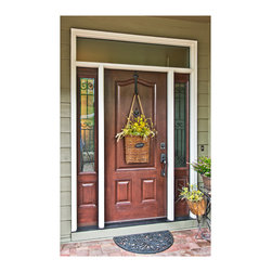 ProVia Doors - Provia Signet Fiberglass Entry Door System with Two Sidelites and Transom. Door has Obscure Glass, Aged Bronze Hardware, & is part of the Cherry Series.  Door was installed by Johnson County Siding & Window Co in the Kansas City Metro Area.