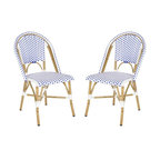 Safavieh - Salcha Indoor-Outdoor Stacking Side Chair - Whether your style is country or coastal, the Salcha indoor-outdoor stacking side chair from Safavieh is a colorful solution to extra guest seating. Inspired by classic European bistro chairs, the pretty and practical Salcha is crafted of blue and white PE wicker and aluminum faux bamboo for easy care.