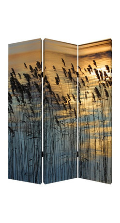 Screen Gems - Screen Gems Whisper Reed Screen - This is a 3 panel screen printed on canvas. The screen is two sided with different and complementary images on each side. It is light weight and very easy to move. The screen also has inspirational wall decor applications.