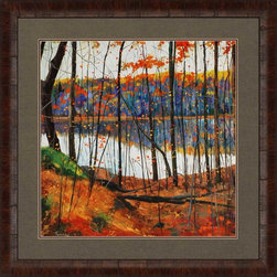 "Paragon Decor - Hidden City Artwork - Brighten up those boring walls with this colorful piece, ""Hidden City"" which depicts an abstract illustration of the shadowy dark trunks of tall trees above forest floors of vivid crimson, scarlet and burnt sienna. In the distance, a yellow-topped blue forest reflects on the glassy lake. This piece is surrounded by an olive-green matte and simple dark frame, and measures 36 inches wide, 1 inch deep, and 36 inches high."