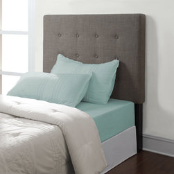 None - Jameson Brown Derby Twin Headboard - This twin headboard is sure to brighten up any bedroom.  Designed with classy button tufting and linen-like upholstery,this headboard installs easily with all of the necessary hardware included.