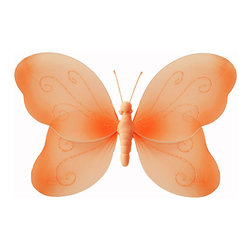 Bugs-n-Blooms - Hanging Butterfly Small Orange Swirls Nylon Butterflies Wall Ceiling Decorations - Hanging Swirls Butterfly - Beautiful nylon hanging kids wall or ceiling decor, baby decoration, childrens decorations. Ideal for Baby Nursery Kids Bedroom Girls Room. This nylon butterfly has pretty swirls of glitter to give it that special shine. This pretty butterfly decoration is made with a soft bendable wire frame. Beautiful 3D hanging nursery, bedroom, birthday party, baby shower or wedding decor. Includes a piece of fishing line and hoop for easy hanging to any wall or ceiling (removable if desired). Sold individually. Visit our store for more great items. Additional sizes are available in various colors, please see store for details. Please visit our store on 'How To Hang' for tips and suggestions. Please note: Sizes are approximate and are handmade and variances may occur. Price is per each butterfly (1) piece
