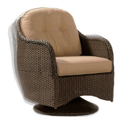Grandin Road - Sophia Swivel Outdoor Rocker Chair - Sturdy powdercoated steel frames. Hand-woven all around with mocha-hued, all-weather wicker. Neutral birch-colored cushions are included. Table features a 5mm thick tempered-glass top. Fall into an effortless rhythm with the smooth, gentle motion of our Sophia Outdoor Seating Collection. The chair gently rocks and swivels, and the loveseat glides effortlessly, keeping you at ease for hours.  .  .  .  . Imported.