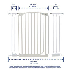 "Dreambaby - Dreambaby Chelsea Xtra Tall Swing Close Gate Combo Pack, White - Dreambaby® Extra-Tall Swing closed gate is extremely versatile.  Keep your child safer by preventing access to areas of potential danger.  The extra-tall height is especially good for use with stairs. With easy close feature and its double locking system, this attractive pressure mounted gate is easy to install. With your Dreambaby® gate you can feel peace of mind knowing your child is safer. Versatile indeed, it will fit openings of 28""-32"" on its own or with the included extensions (1 x 3.5"" and 1 x 7"") it can be increased to fit up to 42.5"". Additional extensions sold separately for wider spaces. Two extensions may be used per side to each a maximum of 121."" This Dreambaby® pressure-mounted gate is easily installed and for most situations there is no need to screw holes into woodwork or walls unless used at the top of stairs where the mounting cups must be screwed in to added security. Great for pets too!"