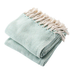 Brahms Mount - USA Made Brahms Mount Cotton Herringbone Throw, Island Blue, Throw - Cotton throw blanket with hand twisted fringe made in the USA by Brahms Mount of Maine since 1983.
