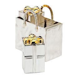Godinger Silver - Shopping Bag Gift Shakers - Add some spice to your table with these gift box salt and pepper shakers. Made of silver plated material, this set will surely last you for years to come. This set makes a great holiday or housewarming gift for practically anyone. Dimensions: 2 x 1 x 3 inches.