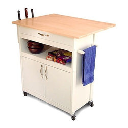 Catskill Craftsmen - Cottage Kitchen Cart - This kitchen island has a classic design and rugged construction that reflect Catskill Craftmen's commitment to quality. This piece offers a towel bar, a 10'' drop leaf, and a knife rack to give you all of convenience of having the room and supplies you need in one area. Its clean white finish will complement any decor; it will certainly be at home in your kitchen! Features: -Open and Enclosed storage areas.-One large storage drawer.-Cabinet enclosed storage area.-Knife Rack.-Towel Bar.-Locking casters.-Imported.-Constructed from rubberwood and MDF.-Solid hardwood top with a natural finish.-White lacquer finish on base.-Cottage collection.-Product Type: Kitchen Cart.-Collection: Drop Leaf Kitchen Cart.-Base Finish: White.-Counter Finish: Natural/Lacquered.-Hardware Finish: Nickel plated.-Distressed: No.-Powder Coated Finish: No.-Gloss Finish: Yes.-Base Material: Rubberwood.-Counter Material: Rubberwood.-Hardware Material: Nickel plated.-Solid Wood Construction: No.-Stain Resistant: No.-Warp Resistant: No.-Exterior Shelves: Yes -Number of Exterior Shelves: 1.-Adjustable Exterior Shelving: No.-Number of Exterior Shelves: 1.-Adjustable Exterior Shelving: No.-Number of Exterior Shelves: 1.-Adjustable Exterior Shelving: No..-Drawers Included: Yes -Number of Drawers: 1.-Push Through Drawer: No.-Drawer Glide Extension: No.-Dovetail Joints: No.-Drawer Dividers: No.-Drawer Handle Design: Pull.-Silverware Tray : No.-Number of Drawers: 1.-Push Through Drawer: No.-Drawer Glide Extension: No.-Dovetail Joints: No.-Drawer Dividers: No.-Drawer Handle Design: Pull.-Silverware Tray : No.-Number of Drawers: 1.-Push Through Drawer: No.-Drawer Glide Extension: No.-Dovetail Joints: No.-Drawer Dividers: No.-Drawer Handle Design: Pull.-Silverware Tray : No..-Cabinets Included: Yes -Number of Cabinets : 1.-Double Sided Cabinet: No.-Adjustable Interior Shelves: No.-Number of Doors: 2.-Magnetic Door Catches: Yes.-Locking Doors: No.-Door Handle Desig