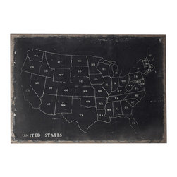 Sterling Industries - Sterling Industries 51-10006 Chalk Outline Map Of USA On Black Canvass - Wall Panel (1)