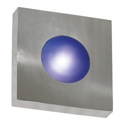 Kenroy - Kenroy 72825PA Burst Sm Square Sconce/Flush - Simple geometric forms in Black or Polished Aluminum frames pair with Cobalt Blue or White Opal glass.  Burst will light up hallways, media rooms and many contemporary exteriors.