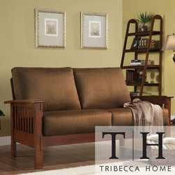 Tribecca Home - TRIBECCA HOME Hills Mission-Style Oak and Rust Loveseat - Comfort, durability and design combine to make this elegant Mission-style loveseat. Featuring soft, rust-colored microfiber fabric, this sold wood and plush cushioned loveseat will provide you with ultimate comfort for years to come.