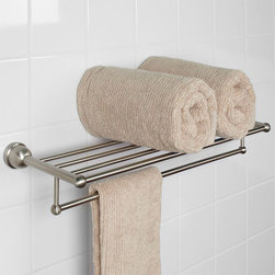 Cade Double Towel Rack - Maximize space in your bathroom with the multi-functioning Cade Collection Double Towel Rack. This piece provides a shelf for extra bathroom necessity storage and a rod large enough to hang bathing and hand towels at once.