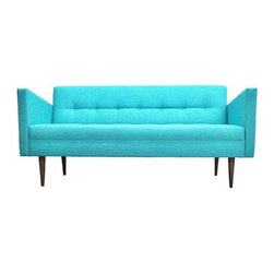 """Used New Mid-Century Style Sofa in Teal Blue - A new custom-made Mid-Century Modern teal blue Judy sofa. The sofa features a walnut wood frame, solid wood construction, and all new fabric, foam, and materials.     L: 70"""", D: 30.5"""", T: 32.5"""", Seat Height: 18.5"""".    Sofas are custom made in-store. Looking for a specific length and color? Send us a message at support@chairish.com about coordinating a custom-crafted sofa just for you!    We are offering FREE Shipping with this Item!"""