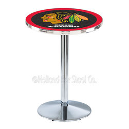 Holland Bar Stool - Holland Bar Stool L214 - Chrome Chicago Blackhawks Pub Table - L214 - Chrome Chicago Blackhawks Pub Table  belongs to NHL Collection by Holland Bar Stool Made for the ultimate sports fan, impress your buddies with this knockout from Holland Bar Stool. This L214 Chicago Blackhawks table with round base provides a commercial quality piece to for your Man Cave. You can't find a higher quality logo table on the market. The plating grade steel used to build the frame ensures it will withstand the abuse of the rowdiest of friends for years to come. The structure is triple chrome plated to ensure a rich, sleek, long lasting finish. If you're finishing your bar or game room, do it right with a table from Holland Bar Stool.  Pub Table (1)
