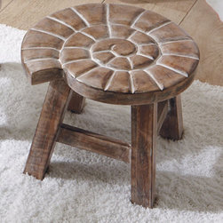 Grandin Road - Shell Petite Wooden Footstool - Charming hand-carved stool with an elephant or shell design on top. Provides the perfect little solution to a seating or shelf need. Solid mango wood with a weathered finish. Not for use inside shower. Place our Petite Wooden Stool anywhere you need a perfect little perch. Distressed mango wood features a hand-carved design atop sturdy legs. Use it to stack towels, as a footrest while shaving or as a handy table beside the tub.  .  .  .