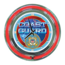Trademark Global - Trademark Global 14 in. United States Coast Guard Neon Wall Clock MIL1400-USCG - Shop for Wall Decor at The Home Depot. This retro neon clock comes with two neon rings a bright white neon on the inside to light up the exclusive graphic and a vibrant neon ring on the outside. The high gloss chrome molded clock case adds to the brilliant shine of the neon. Make a spectacular addition to your kitchen, den or game room with this amazing clock.