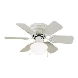 Design House - Atrium 30-Inch White Hugger Fan - The Atrium fan?s petite design is perfect for small spaces and the cost conscious.  - White Finish With Opal Glass Shade  - 30.5 Fan With White Blades (Bleached Oak On Reverse Side)  - Light Kit Included   - Suitable For Damp Locations  - Hugger Mount For Tight Locations  - Install With Or Without Light Kit  - Pullchain Motor Control  - 3 Speed Reversible Motor Design House - 152991