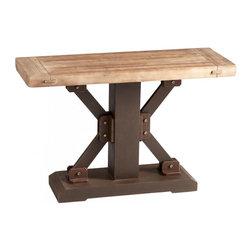 Joshua Marshal - Raw Iron and Natural Wood Kern Accent Table - Raw Iron and Natural Wood Kern Accent Table