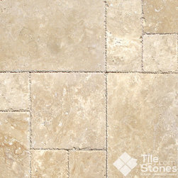 Roma Beige Travertine, Versailles Pattern, Chiseled - These chiseled tiles have their surfaces left unpolished, giving it a natural effect. The beige tiles have some specks of light brown and white across its surface. The edges are chiseled making the layering easier and leaving more uniform and pleasant looking edges.