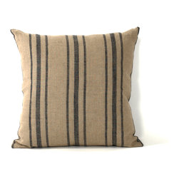 Zentique - Blue Stripes Pillow - This pillow's navy pinstripes add a nautical twist, making it perfect beach-house decor. Pile a couple on a wicker loveseat, sit back on the porch, and take a deep breath — you can almost smell the sea, right?
