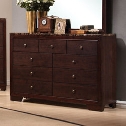 Coaster - Conner Dresser - The Conner Collection is featured in a dark walnut finish with marble looking tops.