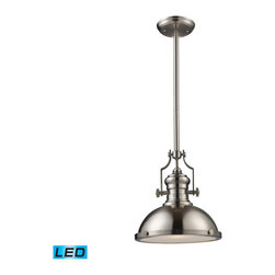 Elk Lighting - Landmark Lighting Chadwick 66124-1-LED 1-Light Pendant in Satin Nickel - LED Off - 66124-1-LED 1-Light Pendant in Satin Nickel - LED Offering Up To 800 Lumens belongs to Chadwick Collection by Landmark Lighting The Chadwick Collection Reflects The Beauty Of Hand-Turned Craftsmanship Inspired By Early 20Th Century Lighting And Antiques That Have Surpassed The Test Of Time. This Robust Collection Features Detailing Appropriate For Classic Or Transitional decors. White Glass Compliments The Various Finish Options Including Polished Nickel, Satin Nickel, And Antique Copper. Amber Glass Enriches The OiLED Bronze Finish. - LED Offering Up To 800 Lumens (60 Watt Equivalent) With Full Range Dimming. Includes An Easily Replaceable LED Bulb (120V). Pendant (1)