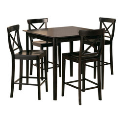 "Homelegance - Homelegance Blossom Hill Square Counter Height Table in Wenge - This casual contemporary 5-Piece counter height dining features nicely rounded table and chair legs with ""X"" accent chair back. Made from Select hardwoods and veneers in wedge finish, Blossom Hill collection is truly a sight to enjoy. Chairs are not included."