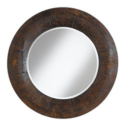 """Cinnabar Road - Arts and Crafts - Mission Raleigh Textured Faux Metal 31 1/2"""" Round Wall Mirror - Lightweight polyurethane and wood frame construction. Faux metal textured to look like rusted metal. Paneled design. Beveled glass edge. Mirror design by Cinnabar Road. 31 1/2"""" round. 2"""" deep. Mirror glass only is 20"""" round.  Lightweight polyurethane and wood frame construction.  Faux metal textured to look like rusted metal.  Paneled design.  Beveled glass edge.  Mirror design by Cinnabar Road.  31 1/2"""" round.  2"""" deep.  Mirror glass only is 20"""" round."""