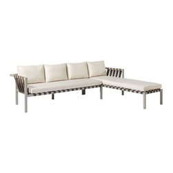 Blu Dot - Jibe Outdoor Sectional Sofa by Blu Dot - Bring all the style and convenience of sectional seating outdoors with the Blu Dot Jibe Outdoor Sectional Sofa. Available in right- and left-facing versions, this sectional dresses up large contemporary exteriors with its hefty anodized aluminum frame and unique nylon straps, which help to support the numerous Canvas-colored Sunbrella fabric-upholstered poly foam cushions. In 1997, Blu Dot was established in Minneapolis by three college friends with a shared passion for art, architecture and design. Then and today, their goal is to bring good design to as many people as possible, collaborating to create modern home furnishings and accessories that are useful, affordable and exceedingly desirable.