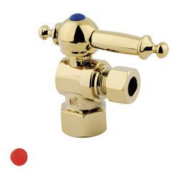 "Kingston Brass - Angle Stop with 1/2"" IPS x 3/8"" OD Compression - The 1/4-turn angle stop valve features a stylish vintage lever which controls the movement of water through and from plumbing fixtures. The valve is made of solid brass built for durability and dependability and also comes in a variety of finishes to better coordinate your kitchen/bathroom.; 1/4-Turn Angle Stop; 1/2"" IPS x 3/8"" OD Compression; English Vintage design; High Quality Brass Construction; Premier Finish Lever Handle; Material: Brass; Finish: Polished Brass Finish; Collection: Vintage"