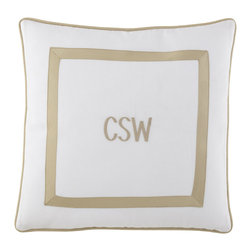"""Matouk - Marlowe Pillow 20""""Sq. Monogrammed - SEA GLASS - MatoukMarlowe Pillow 20""""Sq. MonogrammedDesigner About Matouk:The son of a jeweler John Matouk understood the principles of fine workmanship and quality materials. After studying fine fabrics in Italy he founded Matouk in 1929 as a source for fine bed and bath linens. Today the third generation of the Matouk family guides the company whose headquarters were relocated to the United States from Europe during World War II. Matouk linens are prized worldwide for their uncompromising quality and hand-finished detailing by skilled craftsmen."""