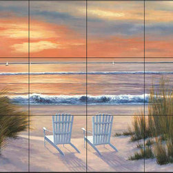 The Tile Mural Store (USA) - Tile Mural - Dr - Paradise Sunset - Kitchen Backsplash Ideas - This beautiful artwork by Diane Romanello has been digitally reproduced for tiles and depicts two chairs on the beach welcoming the sunrise.  Beach scene tile murals are great as part of your kitchen backsplash tile project or your tub and shower surround bathroom tile project. Waterview images on tiles such as tiles with beach scenes and sunset scenes on tiles.  Tropical tile scenes add a unique element to your tiling project and are a great kitchen backsplash  or bathroom idea. Use one or two of our beach scene tile murals for a wall tile project in any room in your home for your wall tile project.