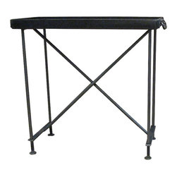 RT Facts - Iron Tray Side Table - Made from munitions trays from the Civil War, these trays are made from heavy cast iron with wrought iron handles. On modern wrought iron bases, featuring penny feet. These tray tables are not removable like our older models. Works beautifully as a side table.