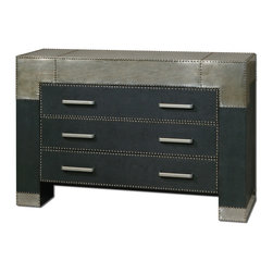 Uttermost - Uttermost Razi 3 Drawer Chest in Black Faux Leather & Silver Metal - 3 Drawer Chest in Black Faux Leather & Silver Metal belongs to Razi Collection by Uttermost Supple black faux leather finish accented by industrial silver metal sheeting and rivet accents. Shown with mirror #07638. Chest (1)
