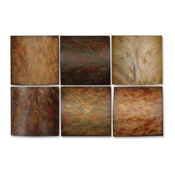 Uttermost - Uttermost Klum Collage Wall Art (Set of 6) - Uttermost Klum Collage is a Part of Grace Feyock Designs Collection by Uttermost This artwork is made of wood and may be hung in any order. The finish consists of tones of red, yellow, aged green, rust brown and gray over black undertones. Metal Wall Art (6)