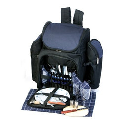 "Picnic Plus - Tandoor 4 Person Picnic Backpack, Navy - Picnic Plus Tandoor 4 Person Deluxe Picnic Backpack, Navy. Color/Design: Navy; Large thermal foil insulated food compartment; 2 insulated, detachable, fully zippered for better insulating capabilities wine/beverage bottle carriers; Removable leak-proof liner holds ice or ice packs; Durable 600D polyester exterior; Two soft padded adjustable shoulder straps; With a complete set of 4: plates, acrylic goblets, cotton napkins, stainless steel flatware, wooden handle bottle opener waiters tool, stainless steel salt/pepper shakers, wooden cutting board and cheese knife, and a bottle stopper. Dimensions: 21""W x 11""D x 17""H"