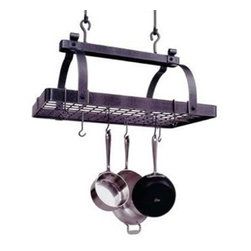 "Enclume - Enclume Classic Rectangle Pot Rack with Grid - Hammered Steel - Enclume, the premier manufacturer of pot racks combine tradition of skilled metal crafting with attention to detail. All key fabrication steps are performed by hand and carefully inspected throughout the production process. The metal used is the finest available in the market. Enclume sources the best hot rolled steel available that is processed to created their hammered steel finish that is not only beautiful but has a scratch-resistant protective coating to preserve its appereance. This classic French design will complement your kitchen and provide ample space to hold your cookware. Made of the hammered premium steel. Mounts on 16 - 22"" sliding centers Includes twelve (12) straight hooks Includes twelve (12) angled hooks Comes with installation hardware. Dimensions: 30 L x 18.5 W x 22"" H. Made in the USA."