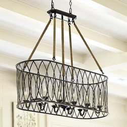 Ballard Designs - Denley 10-Light Pendant Chandelier - Need the perfectly antiqued fixture to hang above your reclaimed wood table? This 10-light piece is sure to illuminate your whole space and add texture to the room.