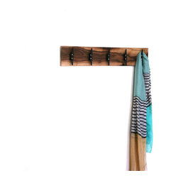 "Pink Pianos - Handmade Walnut 30"" Coat Rack with 5 Hooks - I love to naturally finish wood. This handmade walnut coat rack is ready to ship or made to order, if a custom length is required."