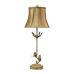 """Lamps Plus - Transitional Ashbury Mount Pleasant Table Lamp - This pretty transitional table lamp design features a thin lamp body that's shaped like a tree branch. The design comes in a Mount Pleasant finish and features two song birds at the bottom and leaves decorating the neck. It's topped with a dark faux silk softback shade with an elegant bell shape. Mount Pleasant finish. Dark gold faux silk softback shade with cream fabric liner.  Maximum 60 watt or equivalent medium base bulb (not included). Line switch. 28"""" high. 11"""" wide. Shade is 11"""" wide 9"""" high.  Mount Pleasant finish.  Dark gold faux silk softback shade with cream fabric liner.  Maximum 60 watt or equivalent medium base bulb (not included).  Line switch.  28"""" high.  11"""" wide.  Shade is 11"""" wide 9"""" high."""