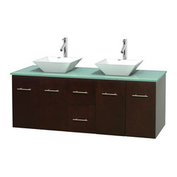 Wyndham Collection - Centra Bathroom Vanity in Espresso,GN Glass Top,Pyra White Sinks,No Mir - Simplicity and elegance combine in the perfect lines of the Centra vanity by the Wyndham Collection. If cutting-edge contemporary design is your style then the Centra vanity is for you - modern, chic and built to last a lifetime. Available with green glass, pure white man-made stone, ivory marble or white carrera marble counters, with stunning vessel or undermount sink(s) and matching mirror(s). Featuring soft close door hinges, drawer glides, and meticulously finished with brushed chrome hardware. The attention to detail on this beautiful vanity is second to none.
