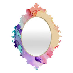 DENY Designs - Rosie Brown Color My World Baroque Mirror - As we like to say around here, if it ain't baroque, don't hang it! With a sleek mix of baltic birch ply trim that's unique to each piece and a glossy aluminum frame, the baroque mirrors collection bumps your stylish reflection up a notch. Custom made in the USA for every order.