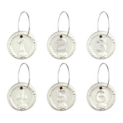 Berry and Thread Wine Charms - Set of 6 - Whitewash - An elegant yet rustic country-chic detail that makes your cocktail party or afternoon gathering sparkle with warmth and hospitality, the weighty ceramic Wine Charms from the Berry and Thread line of stoneware features numbers from one to six embossed in a ring of rope texture alongside a succulent raspberry, mimicking the form of antique letter seals for a cherished impression.