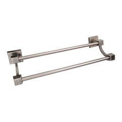 """Hardware Resources - Jeffrey Alexander Urban Design 24"""" Double Bath Towel Holder - Bright Nickel - Base Diameter - 2-11/16"""", Projection - 6-1/2"""", Center To Center - 24"""", Length - 26-11/16"""", Finish - Bright Nickel Brushed with Dull Lacquer"""