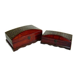 Cheung's - Curved Wooden Box Storage Treasure Chest w Lined Interior - Set of 2 - This lovely treasure chest with linen interior is ideal to store your prized possessions. Built with laminate wood with brown, gold and black tones on one side enhances its beauty. The curved edges makes this an stylish piece. Comes in two various sizes to fit your specific needs. Small (S): 11.75 in L x 6.5 in. W x 4.25 in. H. Large (L): 13.5 in. L x 8.5 in. W x 5.75 in. H
