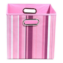 Modern Littles - Rose Stripes Folding Storage Bin - This colorful storage bin is perfect for any little girl's room. The playful motif draws the eye and she'll love organizing and storing her toys in it. Fits easily under a bed or crib.
