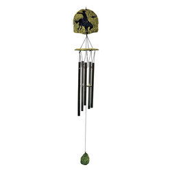 Great World - 32 Inch Green Etched Poly Resin Stone Rider Silhouette Wind Chime - This gorgeous 32 Inch Green Etched Poly Resin Stone Rider Silhouette Wind Chime has the finest details and highest quality you will find anywhere! 32 Inch Green Etched Poly Resin Stone Rider Silhouette Wind Chime is truly remarkable.