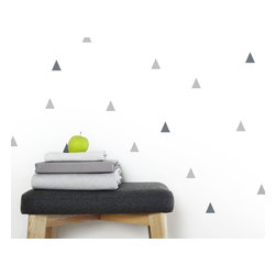 "OLLI+LIME - Triangle Wall Decals, Gray - Triangle design wall decals in high-quality self-adhesive Oracal 631 vinyl. Each pack includes 50 1"" diameter triangles. 25 light gray / 25 dark gray."