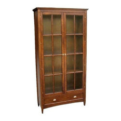 Wayborn - Bookcase w Glass Doors - Made from Birchwood. Smooth finish. Drawers are wood on wood. Solid wood, back and shelves are processed wood. Assembly required. 41 in. W x 16 in. D x 82 in. H (187 lbs.)