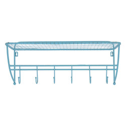 Enchante Accessories Inc - Distressed Metal Coat Rack with 6 Large Iron Hooks (Teal) - Metal coat rack with 6 large iron hooks Distressed finish for a vintage inspired, shabby chic look Rounded tips that prevent the hooks from piercing or damaging coats or garments Easy to mount design can be hung on any wall Measures 23 in. x 8.25 in. x 9.63 in. Add elegance and a sense of European sophistication to the wall in your entry way with this ornate scrolled metal coat rack.  The Distressed Metal Coat Rack with 6 Large Iron Hooks is crafted from durable metal and features a distressed, weathered finish with scrolled detailing along the top of the bar, decorative rounded finials on each end, and six large scooped hooks finished with rounded balls on the end to prevent the iron hooks from doing damage to coats, scarves, or any other garments that you choose to hang.  The metal construction offers stability and durability while the distressed finish lends an undeniably shabby chic appeal to the overall look.  Measuring 8.25 in. deep, this metal coat rack adds instant style and brings convenient storage to any wall in any room.  For the decorator who loves to place distinctive, vintage inspired pieces throughout the home, this coat rack can also be used in a kitchen, in a bedroom, or in a bathroom.  This wall rack can be easily hung on the back of a bathroom door to hold towels, bath robes, clothing, or bath linens.  In a bedroom, this rack can be hung on the back of the door or on the outside of a closet to hold clothing and accessories such as scarves and handbags.  For the person who loves to cook, this rack can be mounted on a kitchen wall to hang and organize aprons, oven mitts, dishtowels, or other kitchen linens.  Wherever you place it, this rack provides style and storage and adds a touch of distinction to your home.  This coat rack is detailed with two metal holes so that you can easily insert and attach screws for mounting and is available in a range of different colors to appeal to your unique decorating style.  The shabby white finish has a classic vintage look, the distressed grey color has a slightly more industrial feel, and the light green color combination appeals to the decorator looking for natural country charm that can blend into any color scheme.
